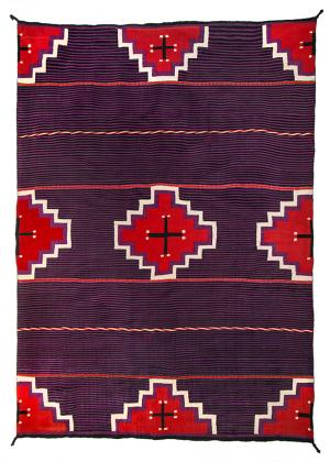 navajo germantown moki blanket, cross, vintage, 19th century, textile, rug, Native American Indian antique vintage art for sale, southwestern