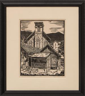 """Royal Willis, """"Old Church, Central City Colorado (12/50)"""", woodcut (Woodblock), 1934 painting fine art for sale purchase buy sell auction consign denver colorado art gallery museum"""