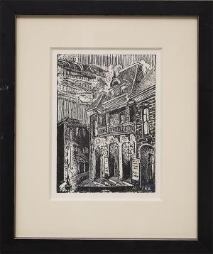 "Margaret Tee, ""Untitled (Central City Opera House, Colorado)"", woodcut (Woodblock) painting fine art for sale purchase buy sell auction consign denver colorado art gallery museum"