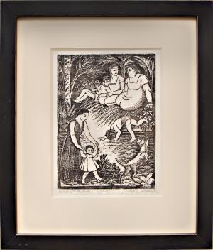"""Mina Conant Billmyer, """"Sunday in the Park 10/25"""", woodcut (Woodblock) painting fine art for sale purchase buy sell auction consign denver colorado art gallery museum"""
