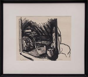 """Gwendolyn Meux dufill """"The Smoke Sauna - Lapland"""" finland charcoal lithograph painting fine art for sale purchase buy sell auction consign denver colorado art gallery museum"""