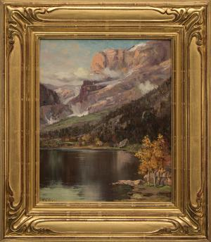 """Raphael Lillywhite, """"Untitled (Mountain Lake in Autumn)"""", oil for sale purchase consign auction denver Colorado art gallery museum"""