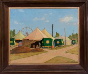 "Francis Drexel Smith, ""The Wortham Shows (Circus)"", oil, circa 1930 painting fine art for sale purchase buy sell auction consign denver colorado art gallery museum"