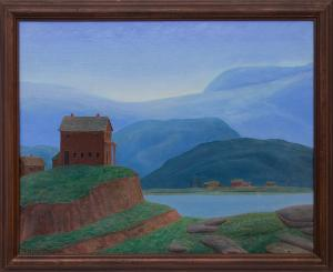 """Francis Drexel Smith, """"Untitled (House on Hill)"""", oil painting fine art for sale purchase buy sell auction consign denver colorado art gallery museum"""