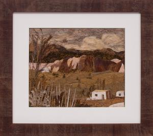 """Pansy Stockton sun painting """"Pojoaque Valley (New Mexico)"""", mixed mediapainting fine art for sale purchase buy sell auction consign denver colorado art gallery museum"""