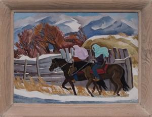 "Barbara Latham, ""Indians Riding (Taos, New Mexico)"", oil, circa 1960 painting fine art for sale purchase buy sell auction consign denver colorado art gallery museum"