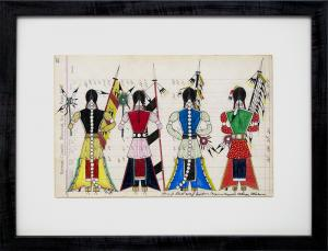 "James Black ledger drawing ""Initiation Day - Cheyenne Bowstring Society"", mixed media, 2018 painting fine art for sale purchase buy sell auction consign denver colorado art gallery museum"