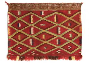 Navajo Single Saddle Blanket in an eyedazzler pattern woven of Germantown wool