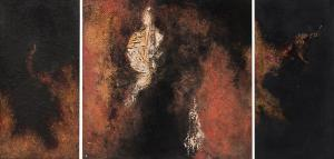 """Ruth Todd, """"Continuum (Triptych)"""", mixed media, 1961 painting fine art for sale purchase buy sell auction consign denver colorado art gallery museum"""