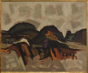 """Kenneth Evett, """"Western Landscape"""", oil, circa 1955 painting fine art for sale purchase buy sell auction consign denver colorado art gallery museum warnock"""