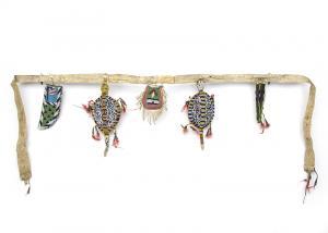 antique Belt Set, Plains, sioux cheyenne vintage circa 1880-1890s umbilical turtle fetish awl case native american indian beadwork