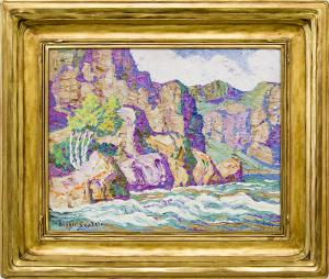 "Birger Sandzen, ""In The Canyon, Big Thompson Canyon, Estes Park, Colorado"", 1926 oil 19th century painting fine art for sale purchase buy sell auction consign denver colorado art gallery museum"