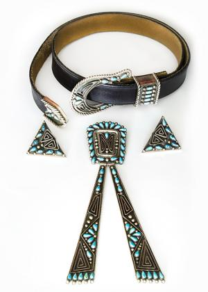 Billy Betoney, Sr contemporary jewelry Necktie, collar tips, and belt buckle with tip  19th century Native American Indian antique vintage art for sale purchase auction consign denver colorado art gallery museum