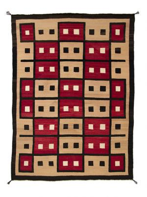 navajo trading post rug block pattern red brown camel ivory white 19th century Native American Indian antique vintage art for sale purchase auction consign denver colorado art gallery museum