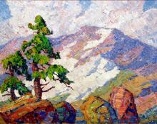 "sandzén Sven Birger Sandzen, ""Rocky Mountain National Park, Colorado"", oil, d. 1920"