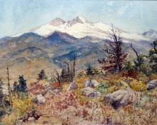 """Charles Partridge Adams, """"Untitled (Longs Peak and Mt. Meeker, Colorado)"""", watercolor on paper, 1896 painting for sale"""