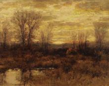 "Charles Partridge Adams, ""Evening, Early November"", oil, c. 1900 painting for sale"