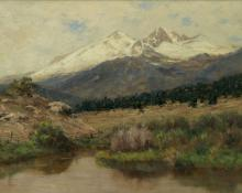 "Charles Partridge Adams, ""Longs Peak and Mt. Meeker with Early Snow"", oil, c. 1900 painting for sale"