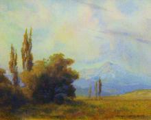 """George Elbert Burr, """"Longs Peak - From North Denver"""", watercolor, 1910 painting for sale"""