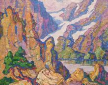 """Sven Birger Sandzen, """"Lake Haiyaha, Rocky Mountain National Park, Colorado"""", oil on canvas, 1927"""