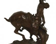 "Charles Marion Russell, ""Bronco and the Buckeroo (on The Weaver)"", bronze"