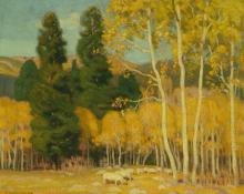 """Ernest Martin Hennings, """"Aspen Idyl"""", oil, c. 1920"""