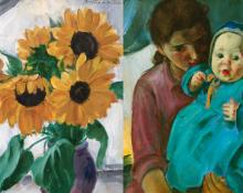 "Martha Walter, ""Still Life with Sunflowers (recto); Untitled (Young Woman with a Child)"", oil, c. 1930"