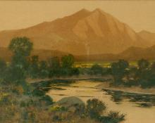 "Charles Partridge Adams, ""Sunset Glow on Mt. Sopris outside Glenwood Springs, Colorado"", watercolor on paper, 1900 painting for sale"