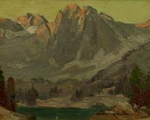 """George Elbert Burr, """"Untitled (Lake in the Rockies)"""", oil, c. 1915"""