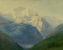 "George Elbert Burr, ""The Jungfrau, from Isenfluh, Dawn"", watercolor, 1911 painting for sale"