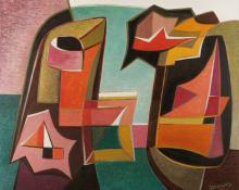 """Werner Drewes, """"Separation of Related Forms - The Gorge"""", oil, 1951"""