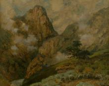 "Charles Partridge Adams, ""Untitled (Mountains and Clouds)"", oil on canvas, 1887 painting for sale"
