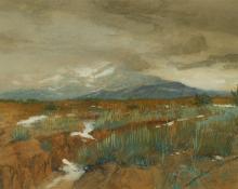 "Gerald (Ira Diamond) Cassidy, ""Spring Snows"", watercolor, c. 1900"