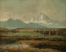 "W.H.M. Cox, ""Indian Encampment near Long's Peak, Colorado"", oil, c. 1890"