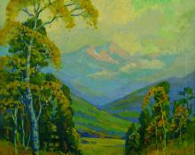 "Frank Joseph Vavra, ""The Sunlit Aspens (Mt. Evans, Colorado)"", oil on canvas, c. 1925"