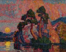 "Sven Birger Sandzen, ""Lake at Moonrise"", oil, 1923"
