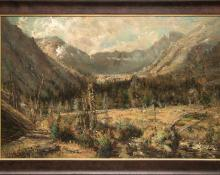 "W.H.M. Cox, ""Untitled (Ouray, Colorado)"", oil on canvas, c. 1885, 19th century historic landscape telluride mountain"