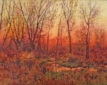 "Charles Partridge Adams, ""Untitled (Evening - on the Front Range, Colorado)"", oil, c. 1900 painting for sale"