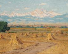 """Charles Partridge Adams, """"Untitled (Haystacks, Longs Peak from Near Longmont, Colorado)"""", oil, c. 1900 painting for sale"""