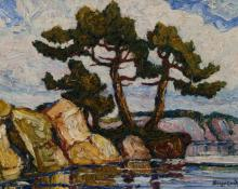 "Sven Birger Sandzen, sandzén ""Smoky River, Kansas"", oil on canvas, c. 1925"