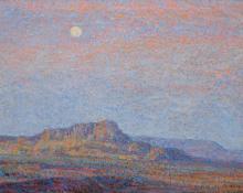 """Sven Birger Sandzen, """"Evening, Western Landscape"""", oil, c. 1910"""