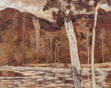 """Pansy Cornelia Stockton, """"Autumn's Mirror"""", mixed media, c. 1950"""