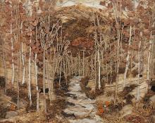 "Pansy Cornelia Stockton, ""Long's Peak Trail, Estes Park, Colorado"", mixed media, c. 1930"