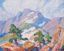 """Sven Birger Sandzen, """"In the Heart of the Rocky Mountains, Rocky Mountain National Park, Colorado"""", oil, 1920"""