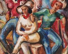 "Frank Joseph Vavra, ""Untitled (Cowgirls)"", oil"