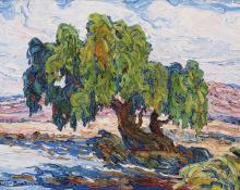 """sandzén, Sven Birger Sandzen, """"Old Willows"""", oil on canvas, c. 1925"""
