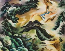 "Vance Hall Kirkland, ""Landscape Seen From Above (Colorado)"", watercolor, 1952"