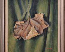"""James Duard Marshall, """"Curling Leaf (Portrait on verso)"""", tempera, c. 1940 for sale purchase consign auction denver Colorado art gallery museum"""