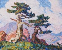 "sandzén, Sven Birger Sandzen, ""Timberline Hills, Longs Peak Colorado"", oil, 1929 painting for sale"