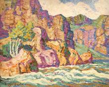 """Sven Birger Sandzen, """"In The Canyon, Big Thompson Canyon, Estes Park, Colorado"""", oil, 1926"""
